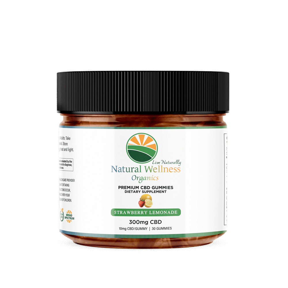 Natural Wellness Organics CBD Gummies Strawberry Flavored 300 mg
